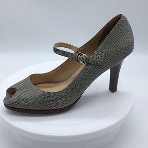 Cole Haan Nike Air Peep Toe wood heel Strap Gray 9